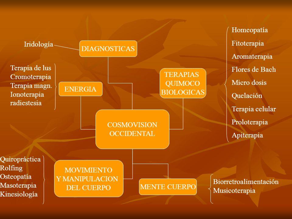 COSMOVISION OCCIDENTAL TERAPIAS QUIMOCO BIOLOGICAS MENTE CUERPO MOVIMIENTO Y MANIPULACION DEL CUERPO DIAGNOSTICAS ENERGIA Homeopatía Fitoterapia Aroma