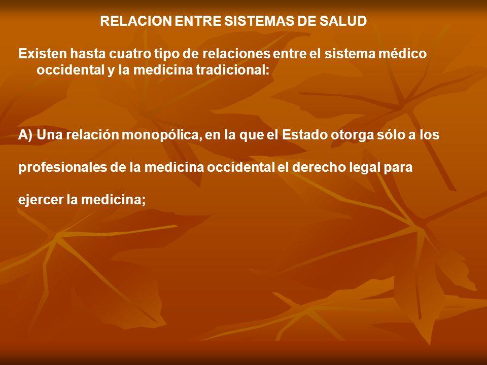 RELACION ENTRE SISTEMAS DE SALUD Existen hasta cuatro tipo de relaciones entre el sistema médico occidental y la medicina tradicional: A)Una relación