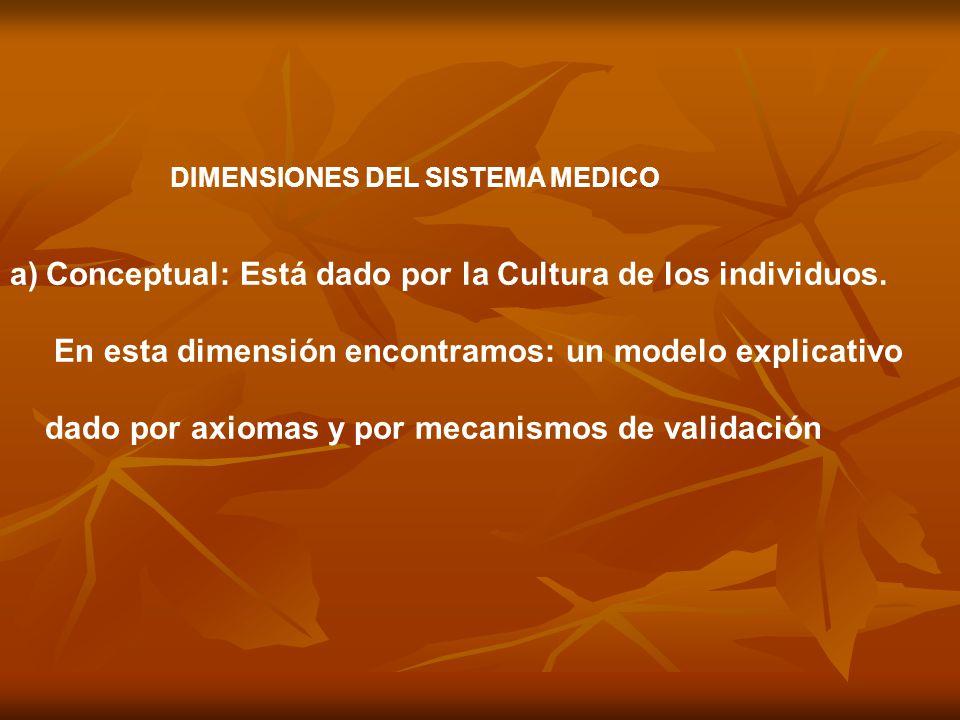 DIMENSIONES DEL SISTEMA MEDICO a)Conceptual: Está dado por la Cultura de los individuos. En esta dimensión encontramos: un modelo explicativo dado por