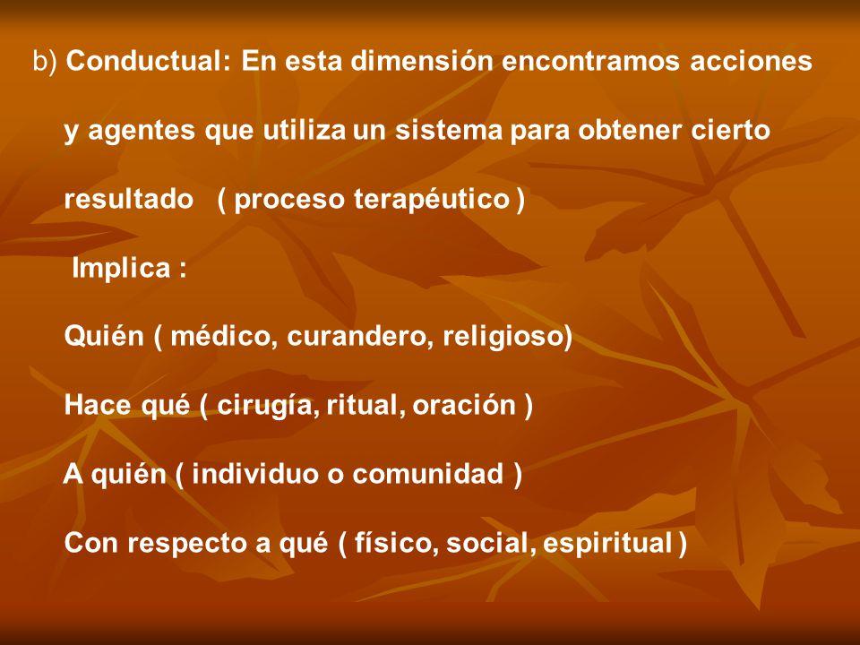 b) Conductual: En esta dimensión encontramos acciones y agentes que utiliza un sistema para obtener cierto resultado ( proceso terapéutico ) Implica :
