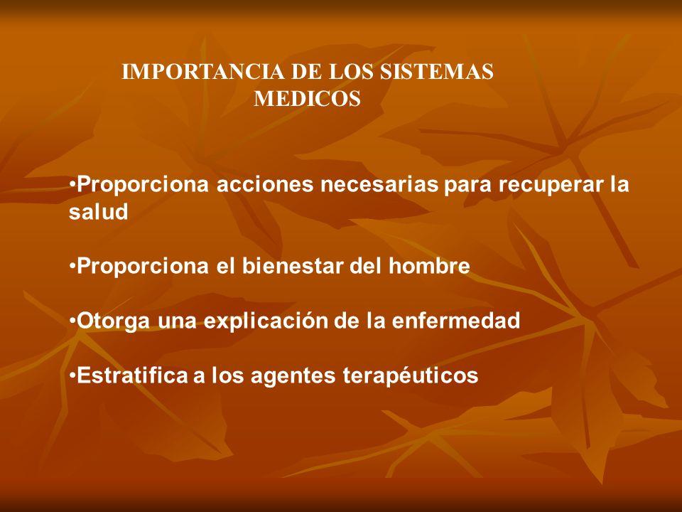 IMPORTANCIA DE LOS SISTEMAS MEDICOS Proporciona acciones necesarias para recuperar la salud Proporciona el bienestar del hombre Otorga una explicación