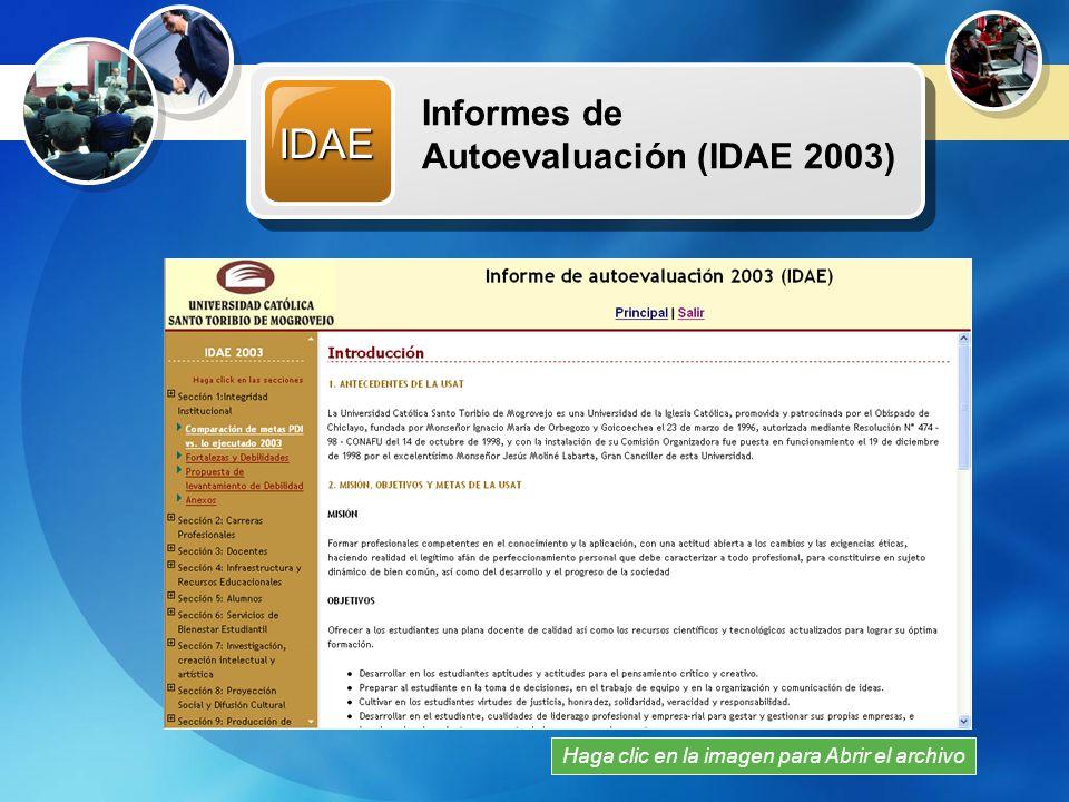 Recursos Multimedia BSC Web de Balance ScoreCard para IDAE Haga clic en la imagen para reproducir Permite administrar el proceso de presentación de Informes de Autoevaluación para CONAFU Visite la dirección web: http://www.usat.edu.p e/documentos/idae