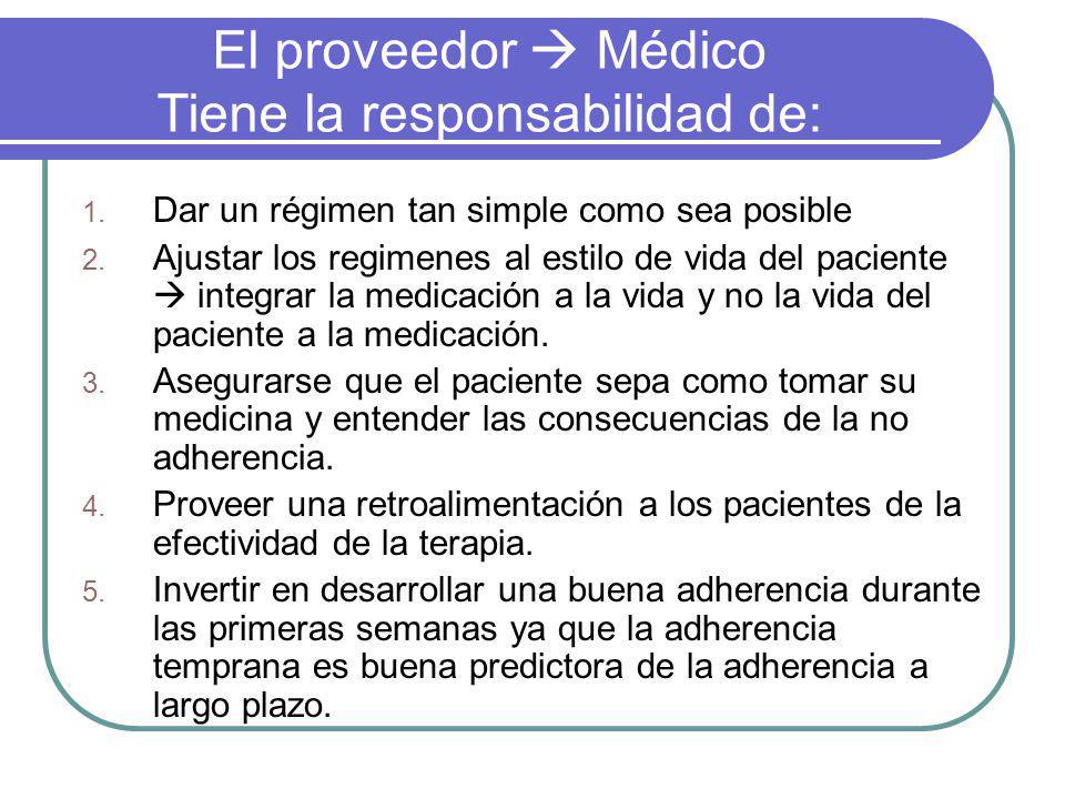 El proveedor Médico Tiene la responsabilidad de: 1. Dar un régimen tan simple como sea posible 2. Ajustar los regimenes al estilo de vida del paciente