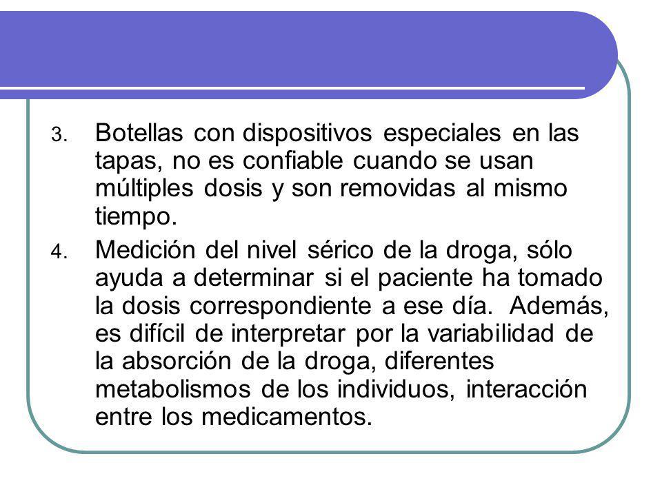 3. Botellas con dispositivos especiales en las tapas, no es confiable cuando se usan múltiples dosis y son removidas al mismo tiempo. 4. Medición del