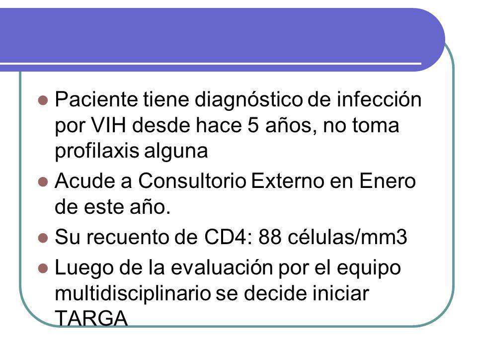 Sus controles hematológicos, bioquímicos están dentro de límites normales Inicia TARGA: EFV + 3TC+ AZT Su Carga Viral antes del inicio de TARGA fue de CV: 124,836 copias/mL El paciente acude a controles cada 15 días por 1 mes y luego reaparece al cuarto mes de tratamiento