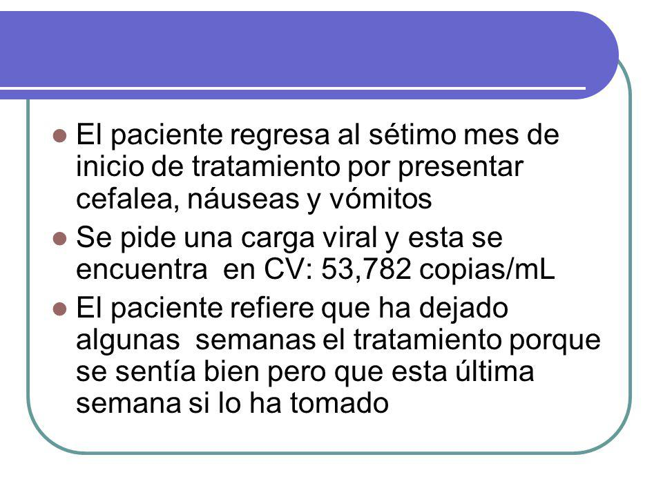 El paciente regresa al sétimo mes de inicio de tratamiento por presentar cefalea, náuseas y vómitos Se pide una carga viral y esta se encuentra en CV: