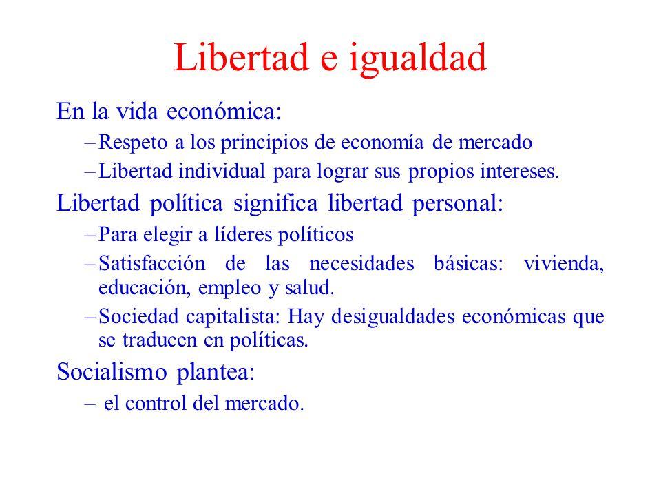 Libertad e igualdad En la vida económica: –Respeto a los principios de economía de mercado –Libertad individual para lograr sus propios intereses. Lib