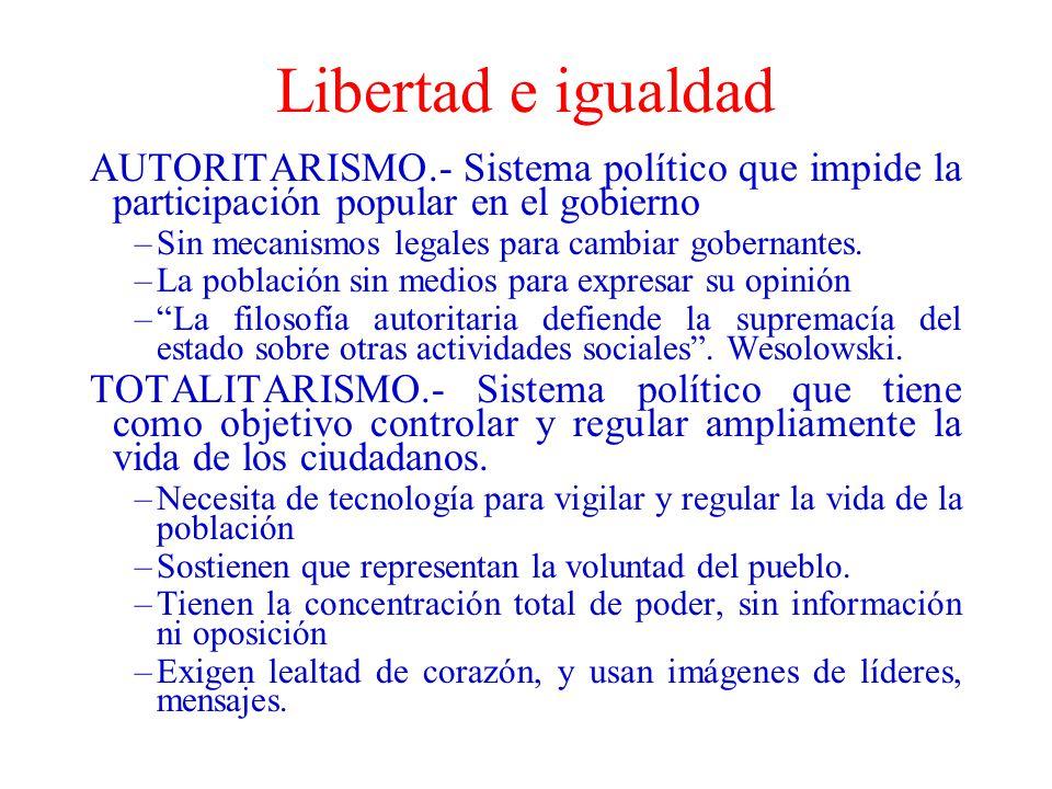 Libertad e igualdad AUTORITARISMO.- Sistema político que impide la participación popular en el gobierno –Sin mecanismos legales para cambiar gobernant