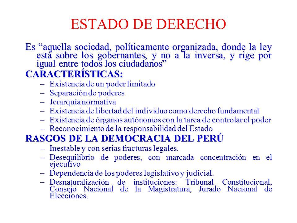 ESTADO DE DERECHO Es aquella sociedad, políticamente organizada, donde la ley está sobre los gobernantes, y no a la inversa, y rige por igual entre to