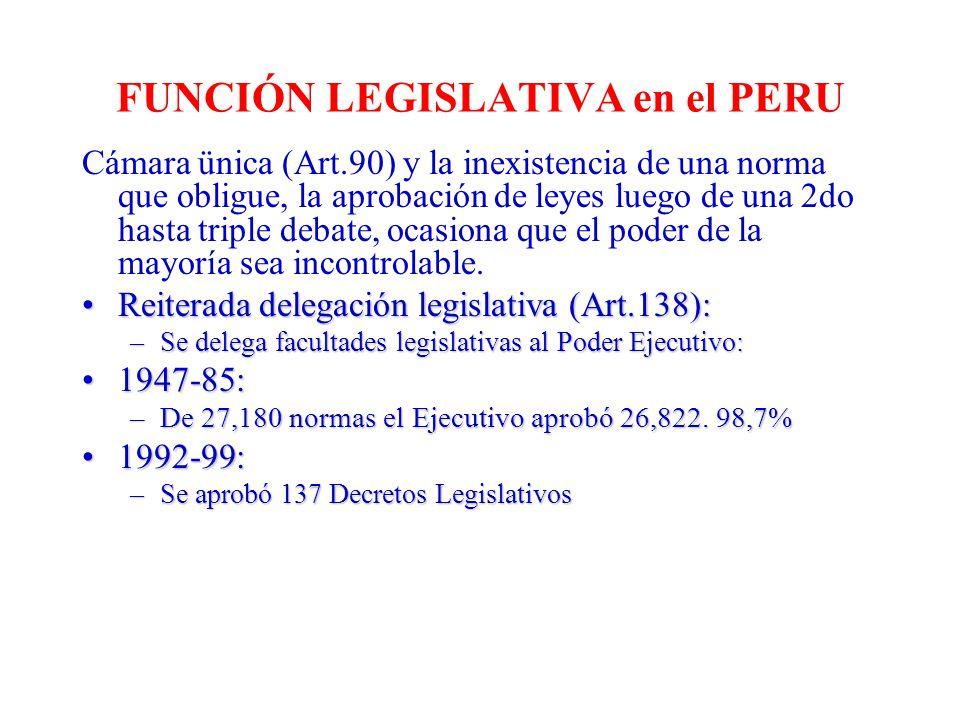 FUNCIÓN LEGISLATIVA en el PERU Cámara ünica (Art.90) y la inexistencia de una norma que obligue, la aprobación de leyes luego de una 2do hasta triple