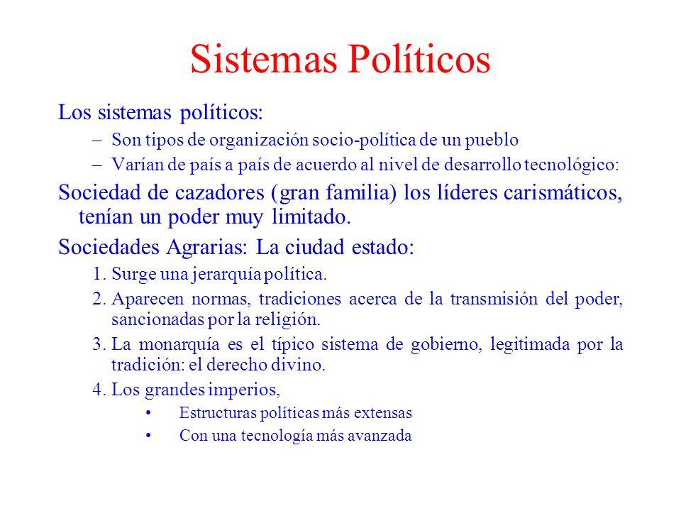 Sistemas Políticos Los sistemas políticos: –Son tipos de organización socio-política de un pueblo –Varían de país a país de acuerdo al nivel de desarr
