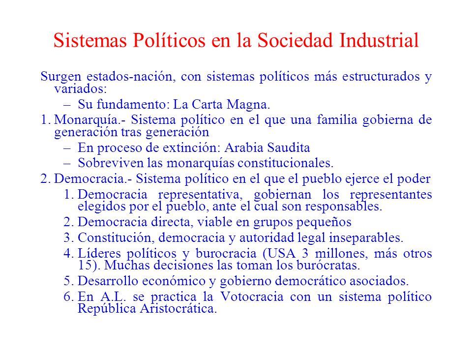 Sistemas Políticos en la Sociedad Industrial Surgen estados-nación, con sistemas políticos más estructurados y variados: –Su fundamento: La Carta Magn