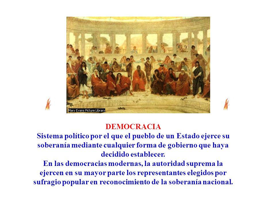 DEMOCRACIA Sistema político por el que el pueblo de un Estado ejerce su soberanía mediante cualquier forma de gobierno que haya decidido establecer. E