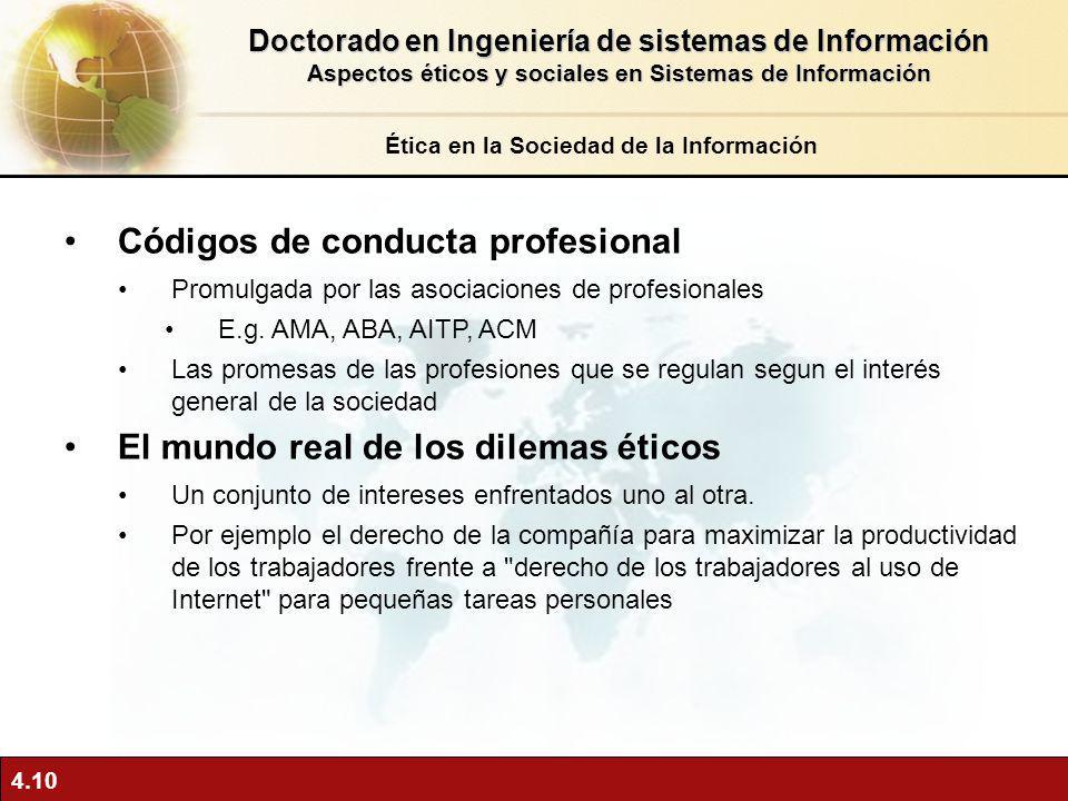 4.10 Códigos de conducta profesional Promulgada por las asociaciones de profesionales E.g. AMA, ABA, AITP, ACM Las promesas de las profesiones que se