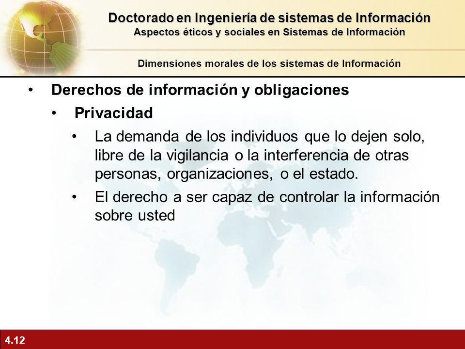 4.12 Derechos de información y obligaciones Privacidad La demanda de los individuos que lo dejen solo, libre de la vigilancia o la interferencia de ot