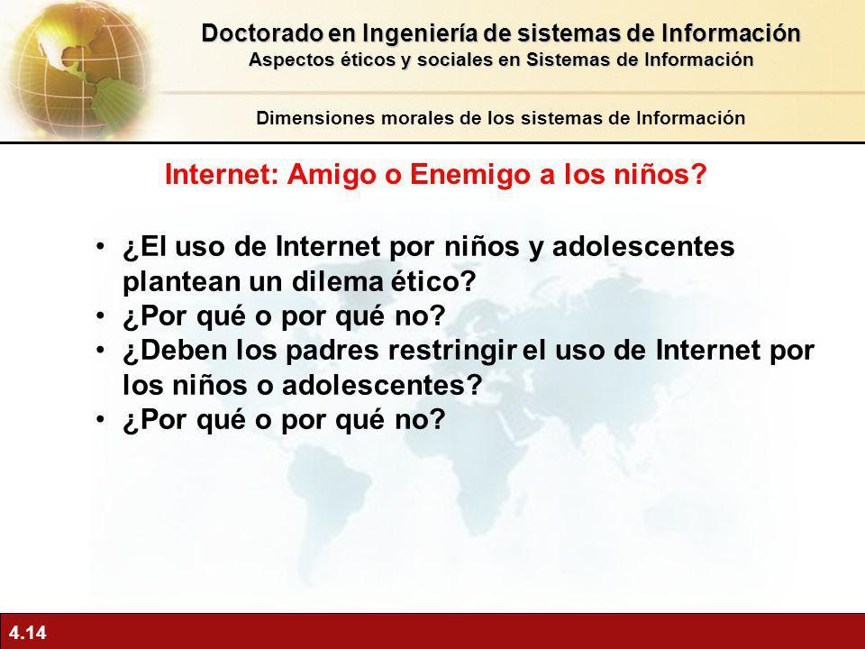 4.14 ¿El uso de Internet por niños y adolescentes plantean un dilema ético? ¿Por qué o por qué no? ¿Deben los padres restringir el uso de Internet por