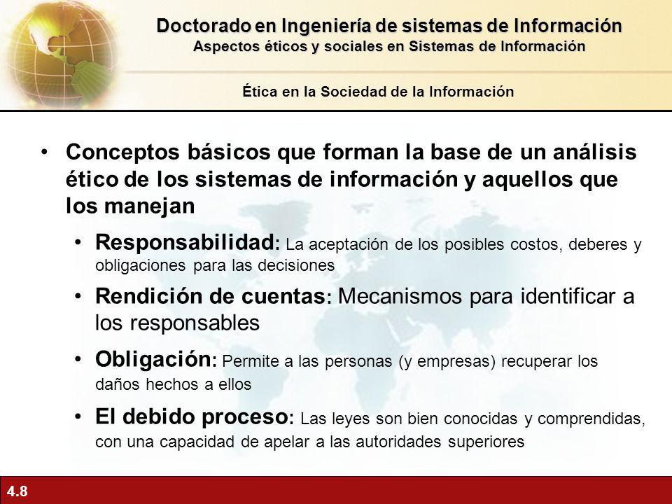 4.8 Conceptos básicos que forman la base de un análisis ético de los sistemas de información y aquellos que los manejan Responsabilidad : La aceptació