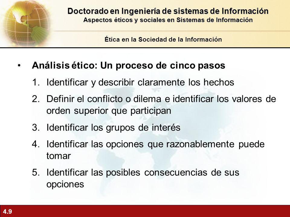4.9 Análisis ético: Un proceso de cinco pasos 1.Identificar y describir claramente los hechos 2.Definir el conflicto o dilema e identificar los valore