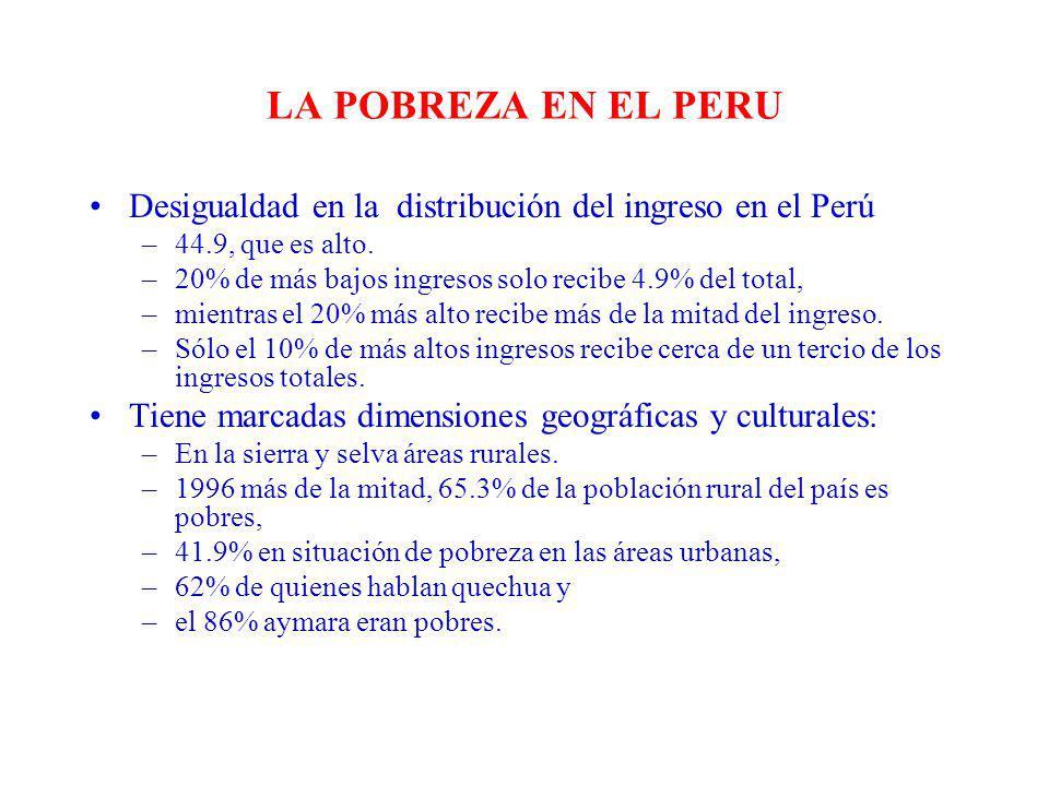 LA POBREZA EN EL PERU Desigualdad en la distribución del ingreso en el Perú –44.9, que es alto. –20% de más bajos ingresos solo recibe 4.9% del total,