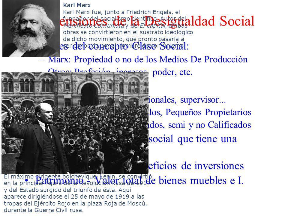 Dimensiones de la Desigualdad Social Límites del concepto Clase Social: –Marx: Propiedad o no de los Medios De Producción –Otros: Profesión, ingresos,