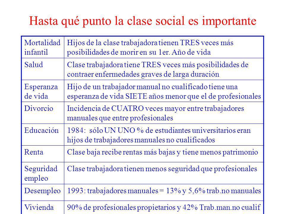 Hasta qué punto la clase social es importante Mortalidad infantil Hijos de la clase trabajadora tienen TRES veces más posibilidades de morir en su 1er