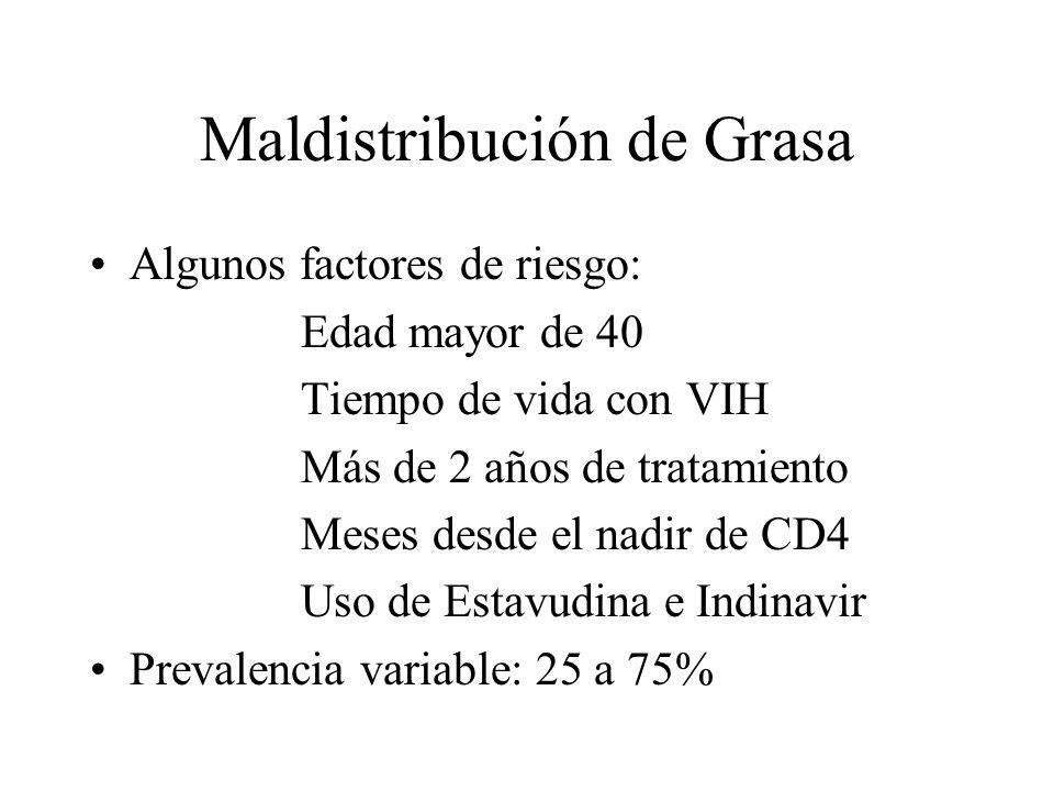 Maldistribución de Grasa Algunos factores de riesgo: Edad mayor de 40 Tiempo de vida con VIH Más de 2 años de tratamiento Meses desde el nadir de CD4