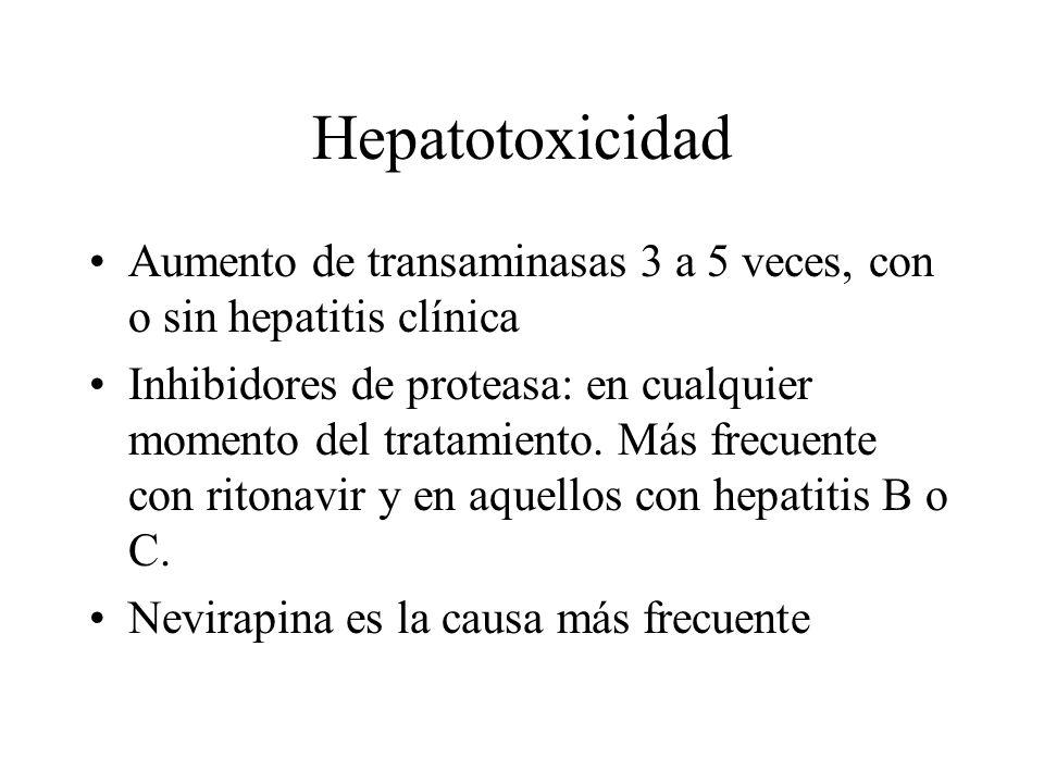 Hepatotoxicidad Aumento de transaminasas 3 a 5 veces, con o sin hepatitis clínica Inhibidores de proteasa: en cualquier momento del tratamiento. Más f