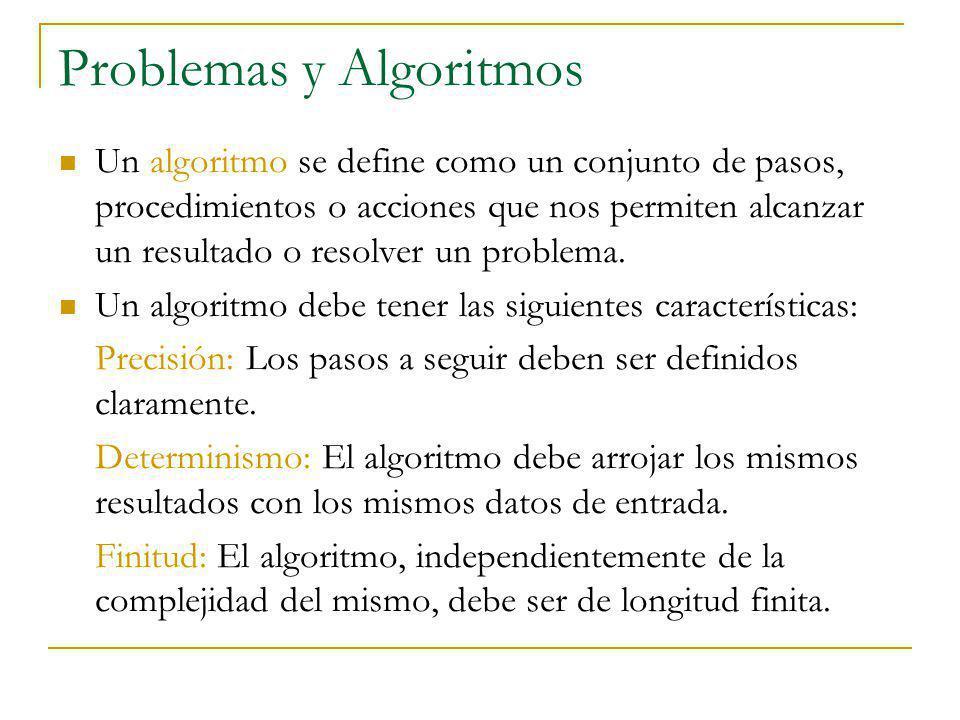 Problemas y Algoritmos Un algoritmo se define como un conjunto de pasos, procedimientos o acciones que nos permiten alcanzar un resultado o resolver un problema.
