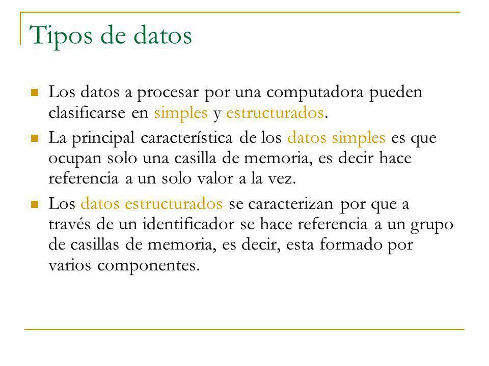 Tipos de datos Los datos a procesar por una computadora pueden clasificarse en simples y estructurados. La principal característica de los datos simpl