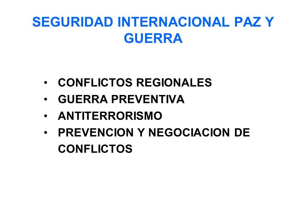 SEGURIDAD INTERNACIONAL PAZ Y GUERRA CONFLICTOS REGIONALES GUERRA PREVENTIVA ANTITERRORISMO PREVENCION Y NEGOCIACION DE CONFLICTOS