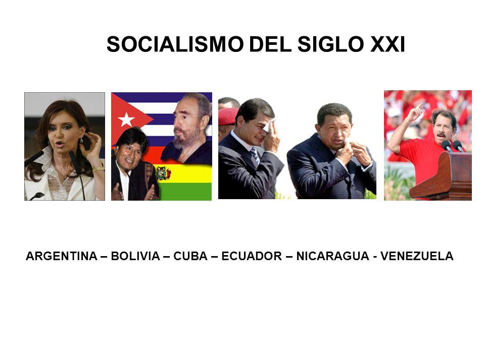 SOCIALISMO DEL SIGLO XXI ARGENTINA – BOLIVIA – CUBA – ECUADOR – NICARAGUA - VENEZUELA