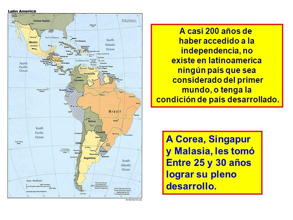 A casi 200 años de haber accedido a la independencia, no existe en latinoamerica ningún país que sea considerado del primer mundo, o tenga la condición de país desarrollado.