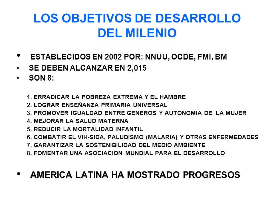 LOS OBJETIVOS DE DESARROLLO DEL MILENIO ESTABLECIDOS EN 2002 POR: NNUU, OCDE, FMI, BM SE DEBEN ALCANZAR EN 2,015 SON 8: 1.