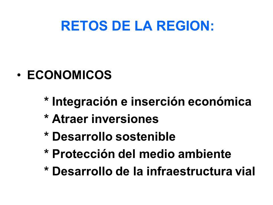RETOS DE LA REGION: ECONOMICOS * Integración e inserción económica * Atraer inversiones * Desarrollo sostenible * Protección del medio ambiente * Desarrollo de la infraestructura vial