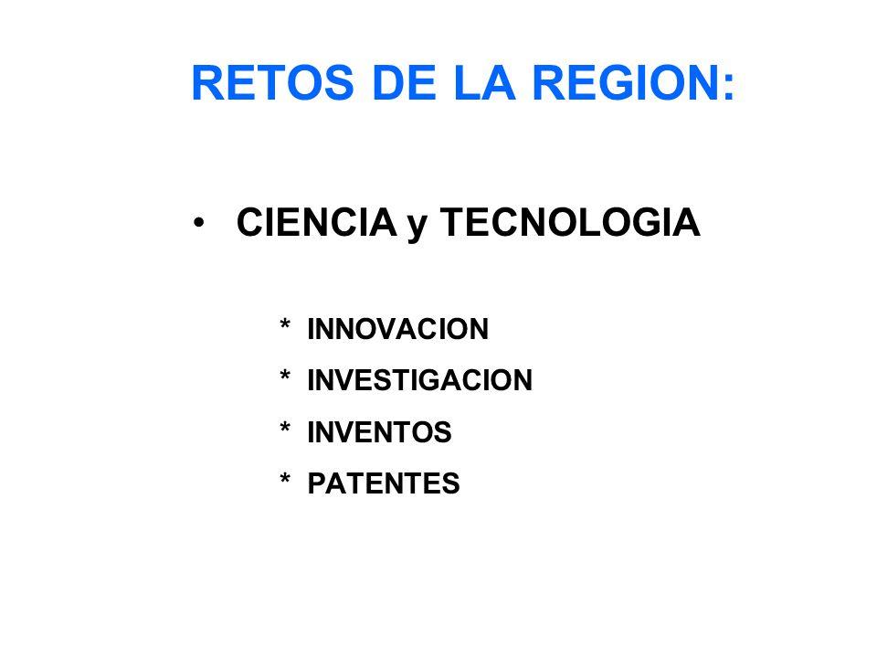 RETOS DE LA REGION: CIENCIA y TECNOLOGIA * INNOVACION * INVESTIGACION * INVENTOS * PATENTES
