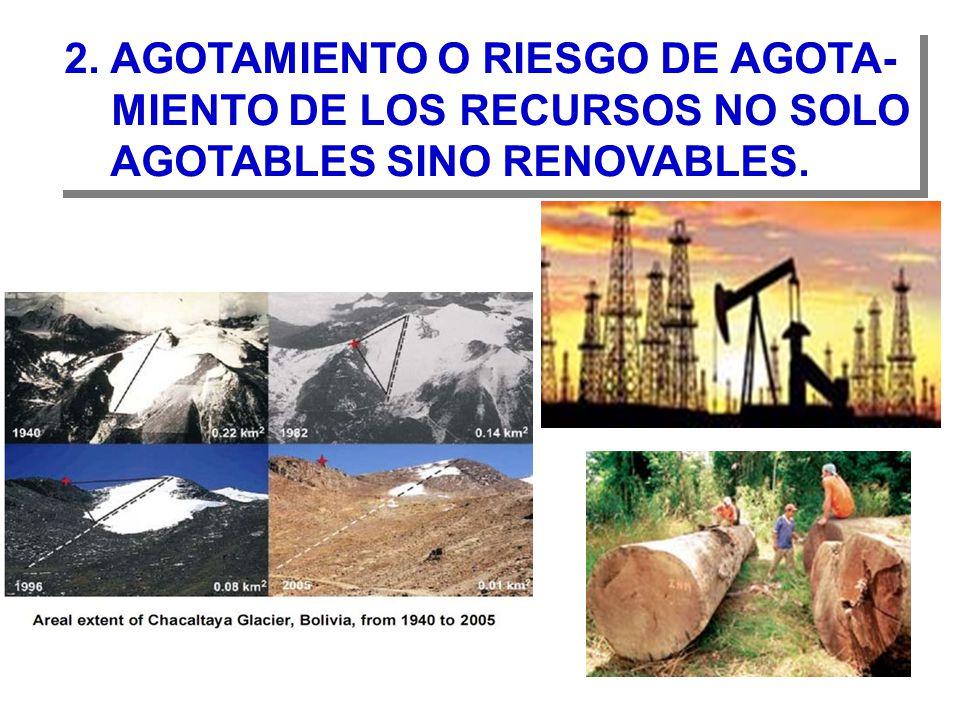 2.AGOTAMIENTO O RIESGO DE AGOTA- MIENTO DE LOS RECURSOS NO SOLO AGOTABLES SINO RENOVABLES.