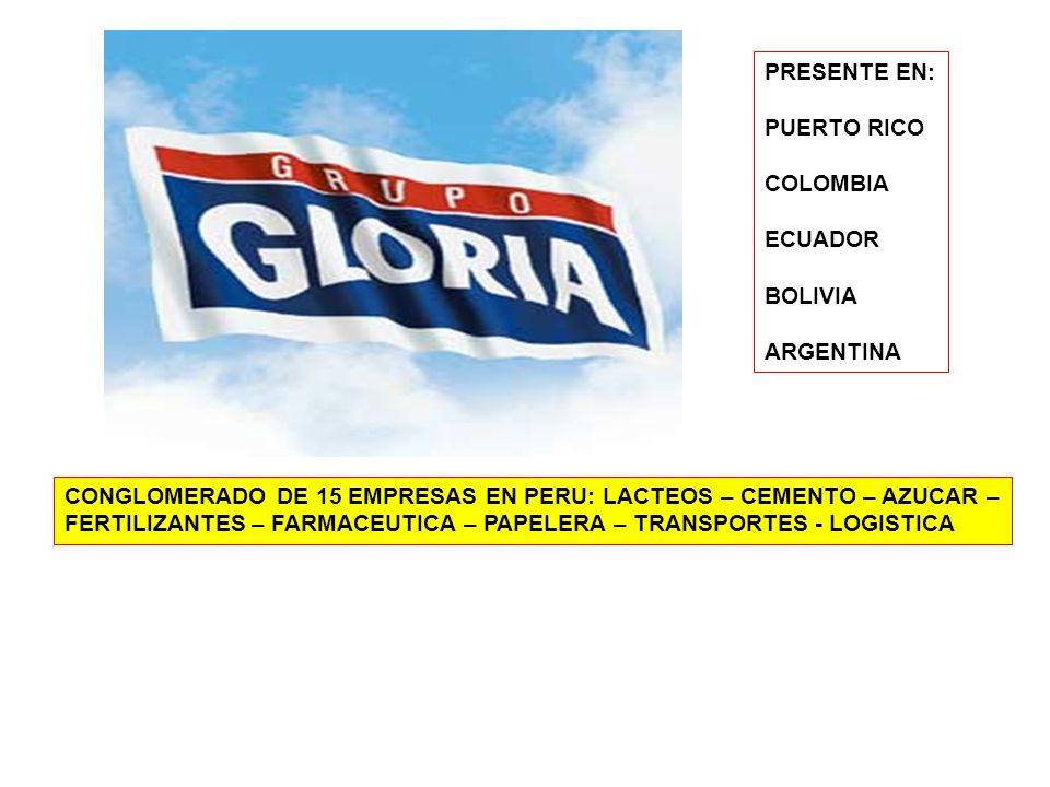CONGLOMERADO DE 15 EMPRESAS EN PERU: LACTEOS – CEMENTO – AZUCAR – FERTILIZANTES – FARMACEUTICA – PAPELERA – TRANSPORTES - LOGISTICA PRESENTE EN: PUERTO RICO COLOMBIA ECUADOR BOLIVIA ARGENTINA