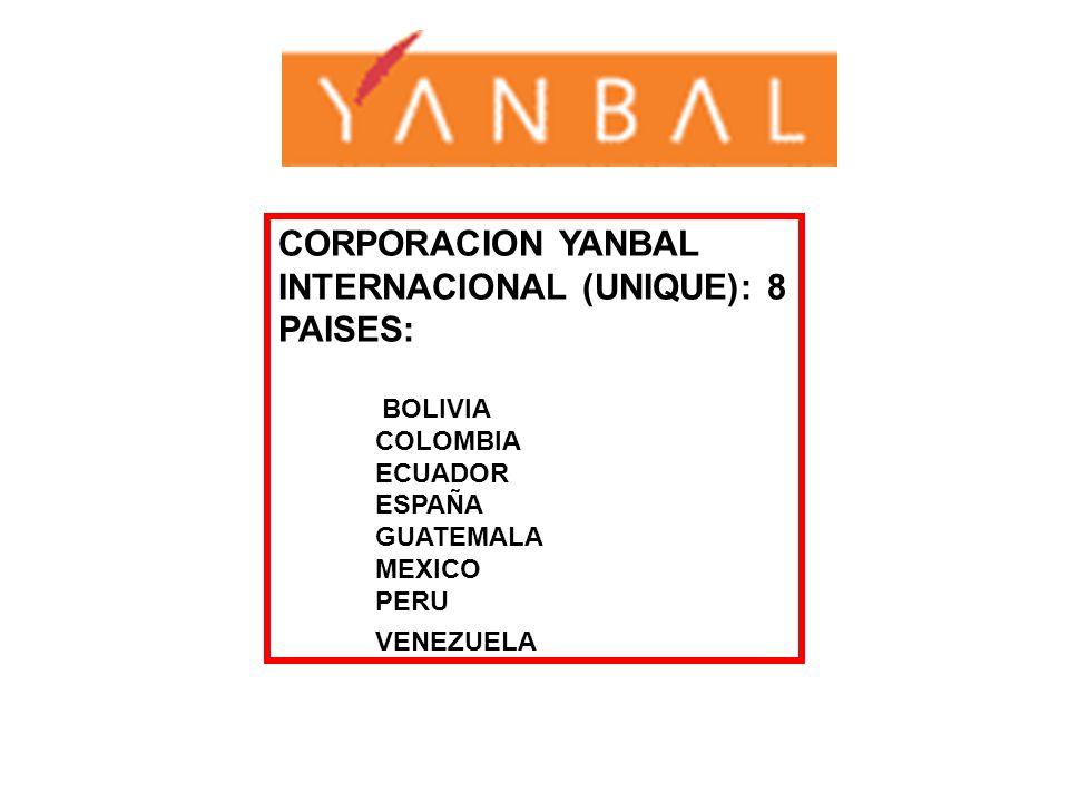CORPORACION YANBAL INTERNACIONAL (UNIQUE): 8 PAISES: BOLIVIA COLOMBIA ECUADOR ESPAÑA GUATEMALA MEXICO PERU VENEZUELA