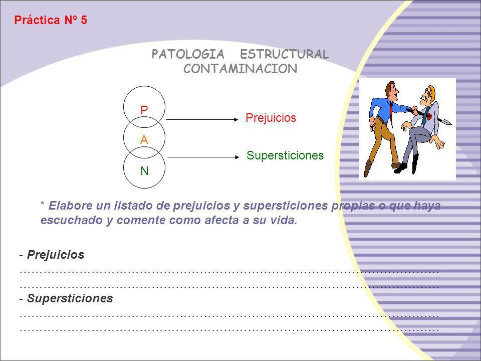 Doble Contaminación: Adulto contaminado por el padre y por el niño Prejuicios P A N Supersticiones