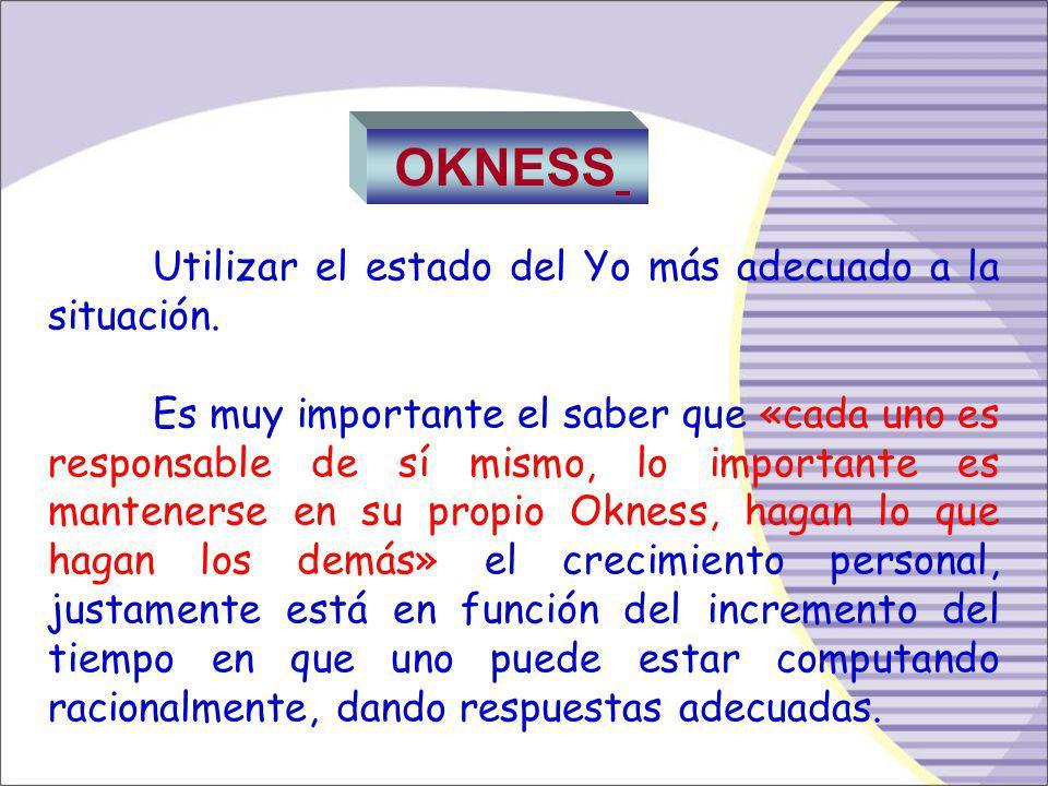 Sistema de Conducta OK (positivo) Adulto Es Ético, bien informado autónomo, responsable. PC+ PN+ A+ NL+ NAS+NAR+ El Niño Adaptado: Se compone de NAS,