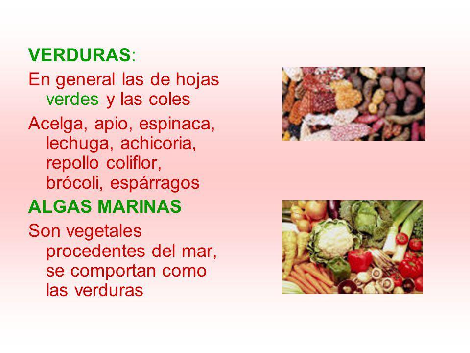 VERDURAS: En general las de hojas verdes y las coles Acelga, apio, espinaca, lechuga, achicoria, repollo coliflor, brócoli, espárragos ALGAS MARINAS S