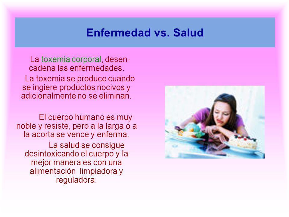 Enfermedad vs. Salud La toxemia corporal, desen- cadena las enfermedades. La toxemia se produce cuando se ingiere productos nocivos y adicionalmente n