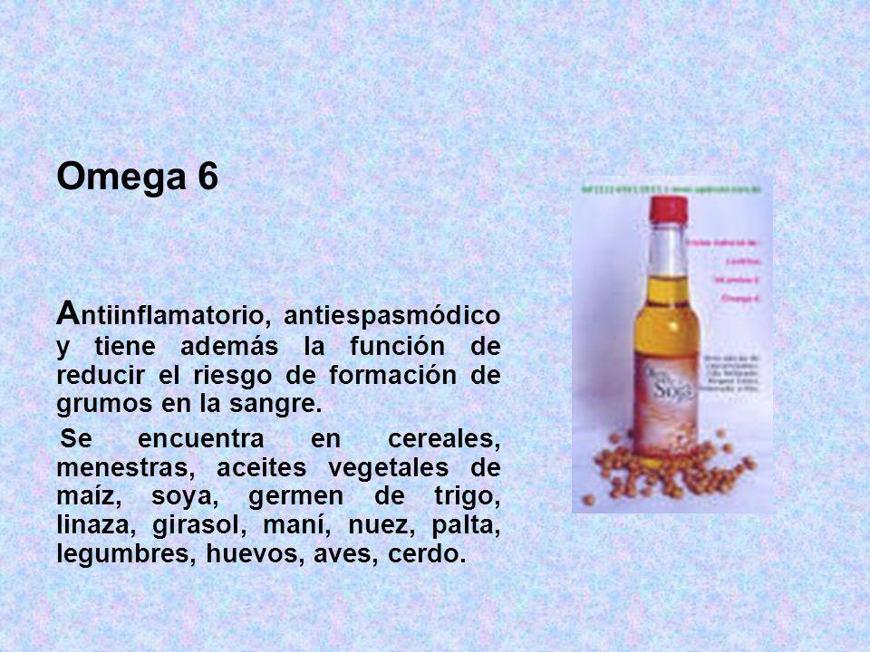 Omega 6 A ntiinflamatorio, antiespasmódico y tiene además la función de reducir el riesgo de formación de grumos en la sangre. Se encuentra en cereale
