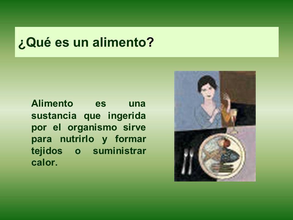 ¿Qué es un alimento? Alimento es una sustancia que ingerida por el organismo sirve para nutrirlo y formar tejidos o suministrar calor.