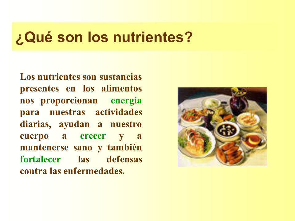 ¿Qué son los nutrientes? Los nutrientes son sustancias presentes en los alimentos nos proporcionan energía para nuestras actividades diarias, ayudan a