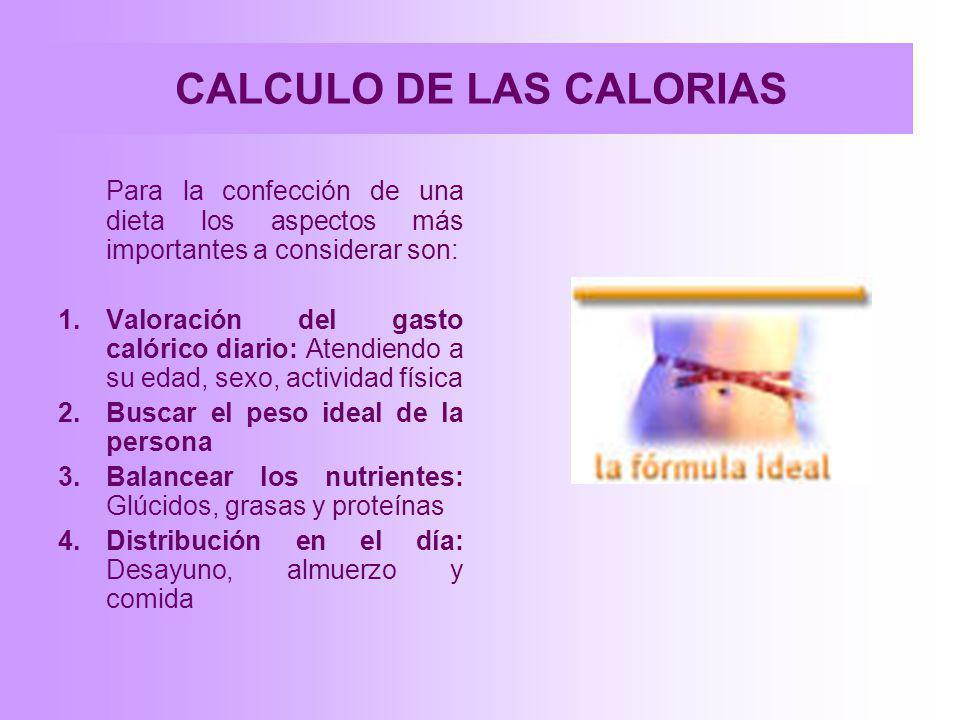 CALCULO DE LAS CALORIAS Para la confección de una dieta los aspectos más importantes a considerar son: 1.Valoración del gasto calórico diario: Atendie