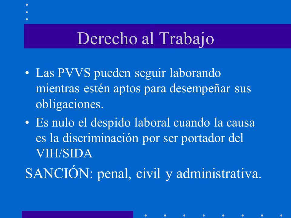 Derecho al Trabajo Las PVVS pueden seguir laborando mientras estén aptos para desempeñar sus obligaciones. Es nulo el despido laboral cuando la causa