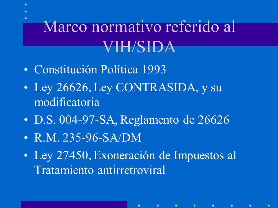 Marco normativo referido al VIH/SIDA Constitución Política 1993 Ley 26626, Ley CONTRASIDA, y su modificatoria D.S. 004-97-SA, Reglamento de 26626 R.M.