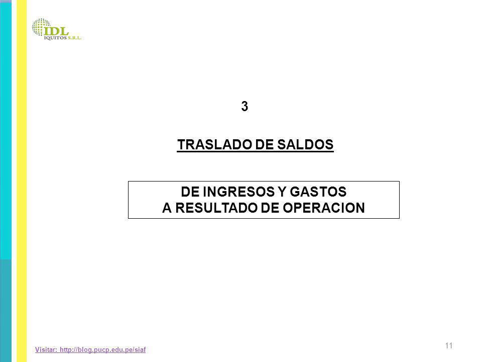 Visitar: http://blog.pucp.edu.pe/siaf DE INGRESOS Y GASTOS A RESULTADO DE OPERACION 3 TRASLADO DE SALDOS 11