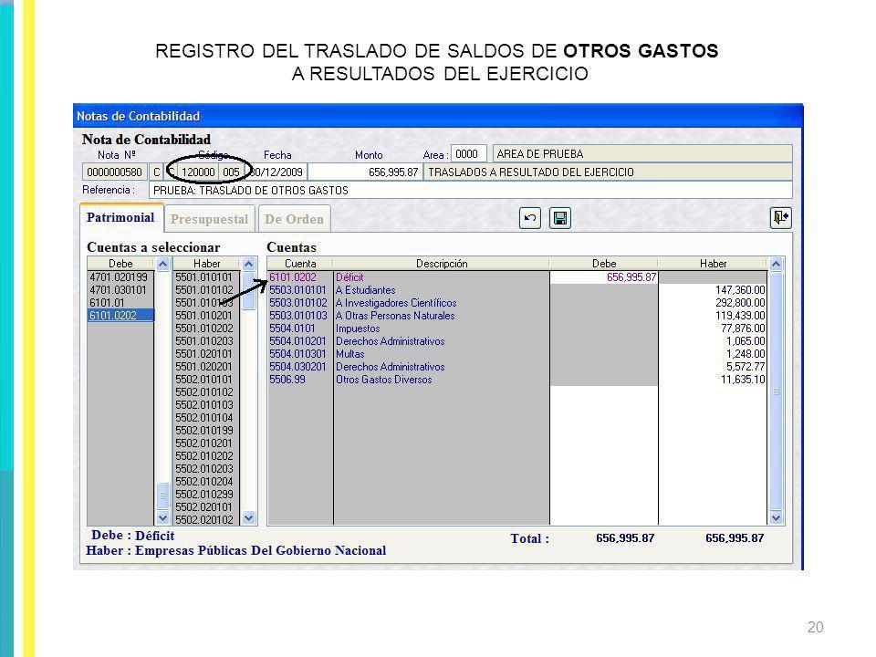 REGISTRO DEL TRASLADO DE SALDOS DE OTROS GASTOS A RESULTADOS DEL EJERCICIO 20